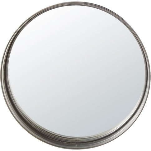 Round Black Metal Mirror D80