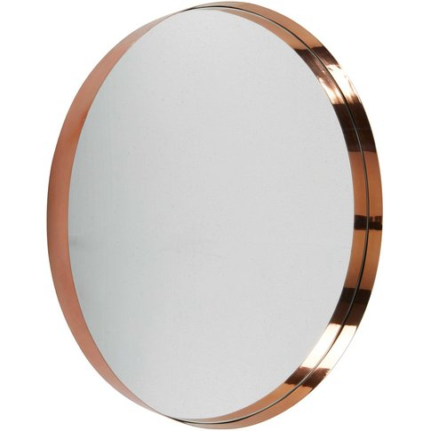 Round copper-coloured metal mirror D90