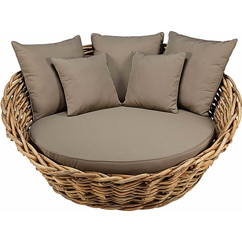 Round garden sofa in rattan with taupe cushions St T...