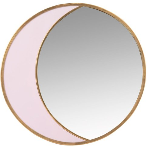 Round Gold And Pink Metal Mirror 25x25