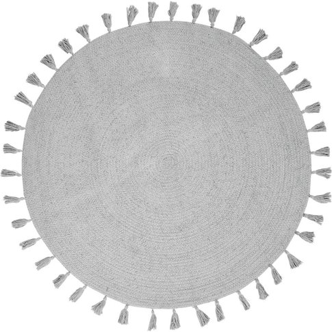 Round Grey Cotton Rug With Pom Poms D100