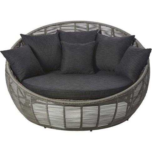 Round Grey Resin Wicker 3-Seater Garden Sofa Tamarin