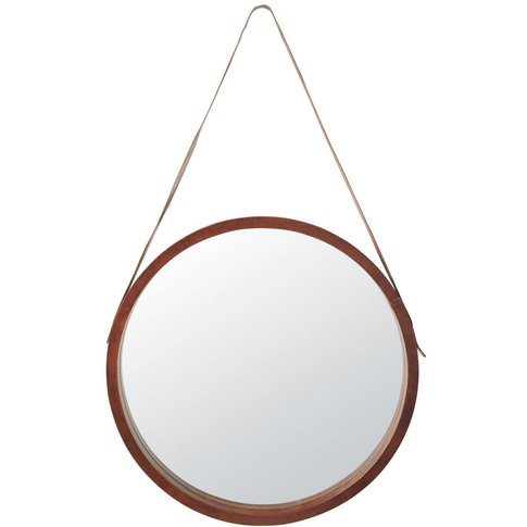Round Leather Mirror D80