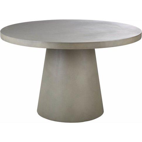 Round Matte Concrete 5/6-Seater Garden Table D120 Do...
