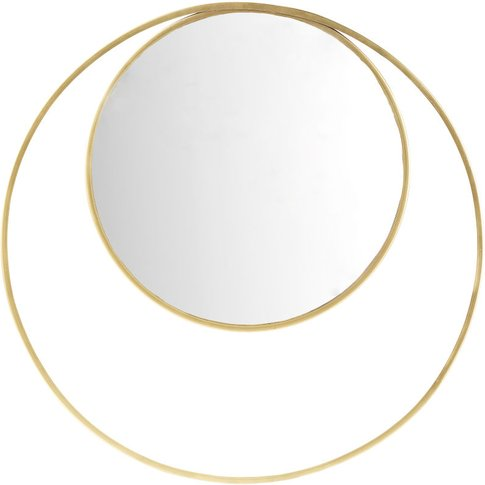 Round Mirror With Gold Metal Double Frame D90
