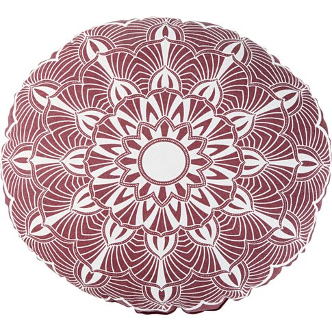 Round Outdoor Cushion In Pink And Ecru Cotton With P...