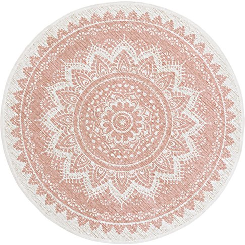 Round Pink Print Jute and Cotton Rug D100