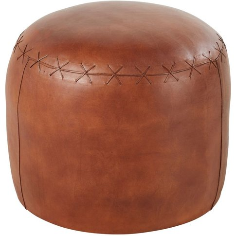 Round Pouffe in Brown Cotton and Goatskin