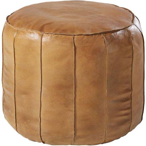 Round Pouffe In Brown Goatskin
