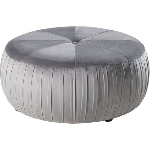 Round Pouffe in Grey Velvet and Pine