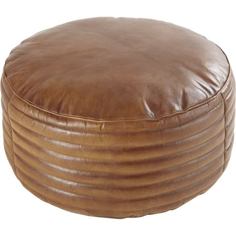 Round Pouffe In Quilted Brown Goatskin