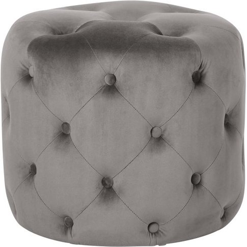 Round Pouffe In Tufted Grey Velvet