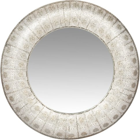 Round Silvery Metal Mirror D80