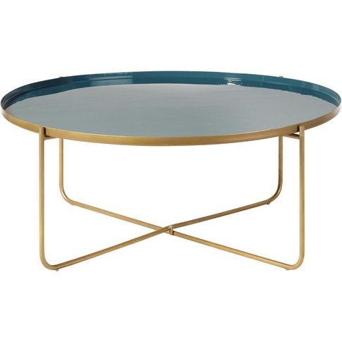 Round Teal And Gold Metal Coffee Table Galet