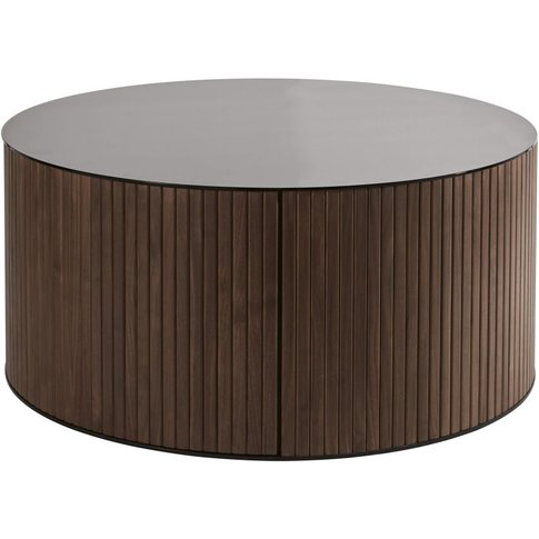Round Tempered Glass 1-Drawer Coffee Table Spiga