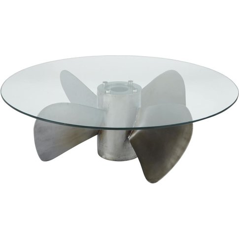 Round Tempered Glass And Metal Propeller Coffee Tabl...