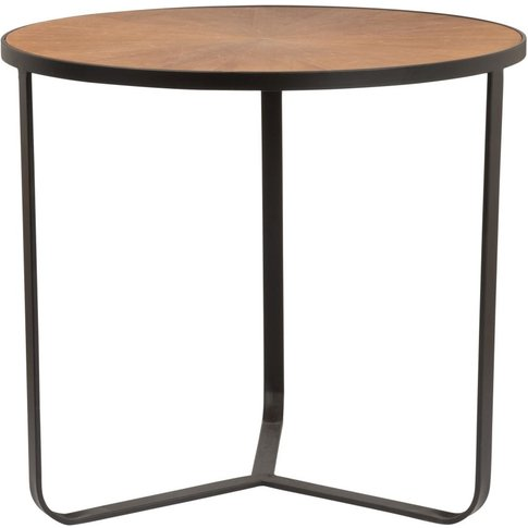 Round Two-Tone Black Metal Side Table