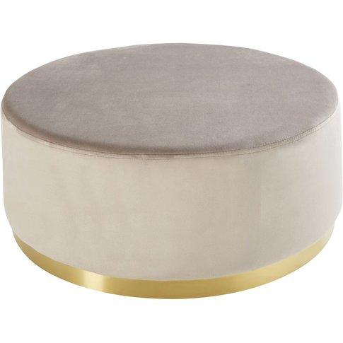 Round Velvet Pouffe In Beige