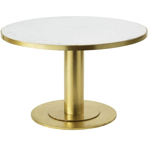 Round White Marble And Brass Metal Coffee Table Louxor