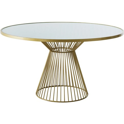 Round Whitened Glass 6-Seater Dining Table D140 Rive...