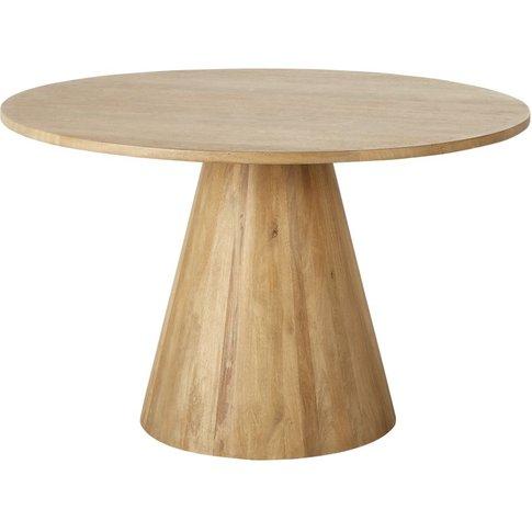 Round Whitewashed Solid Mango Wood 5/6-Seater Dining...