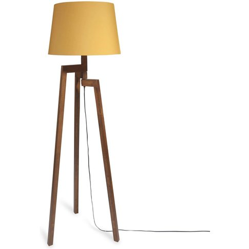 Rubber Wood Tripod Floor Lamp  With Mustard Fabric L...