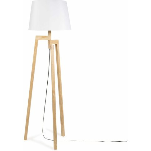 Rubber Wood Tripod Floor Lamp  With White Fabric Lam...