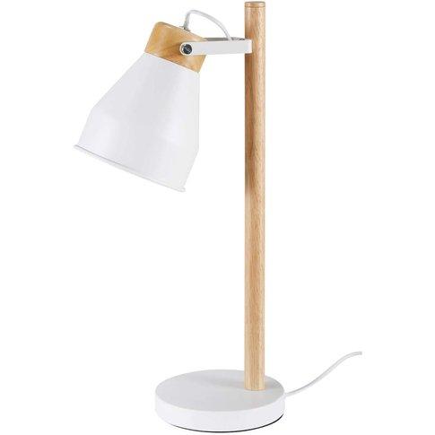 Rubberwood and White Metal Desk Lamp