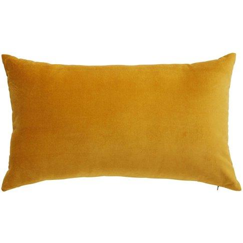 SAVORA mustard yellow velvet cushion 30 x 50 cm