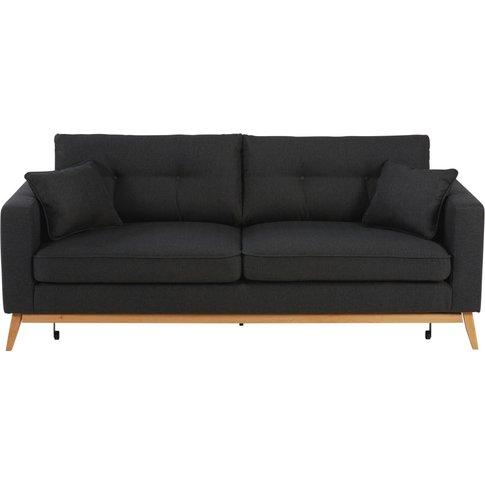 Scandinavian 3-Seater Anthracite Fabric Sofa Bed Brooke
