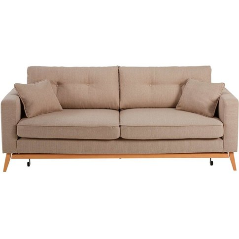 Scandinavian Beige 3-Seater Sofa Bed Brooke