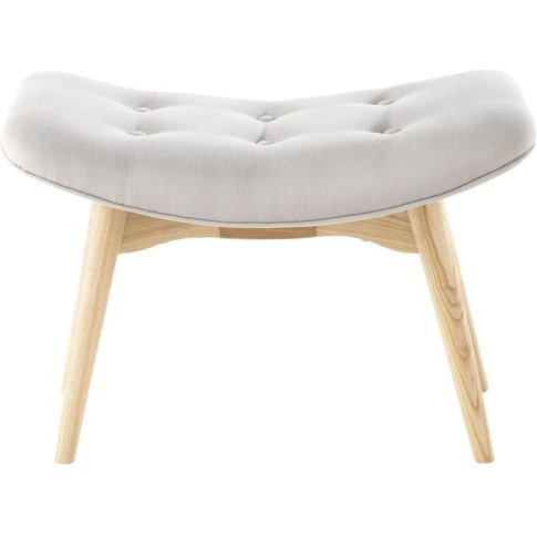 Scandinavian Grey Fabric Footstool/Pouffe Iceberg