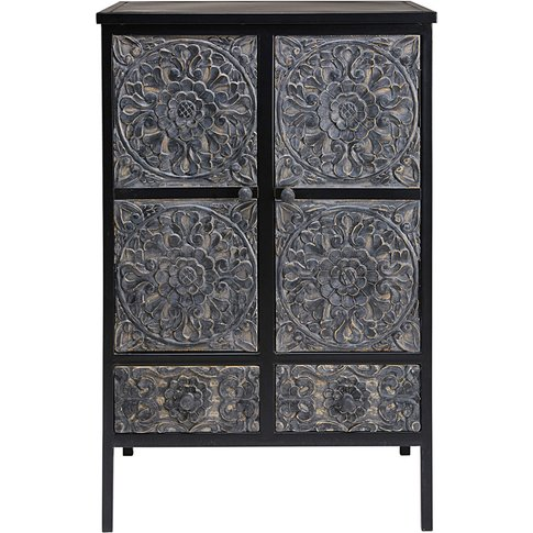 Sculpted Mango Wood And Metal Cabinet Topaze