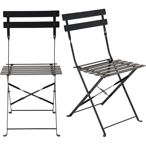 Set of 2 Metal Folding Garden Chairs in Black Epoxy ...
