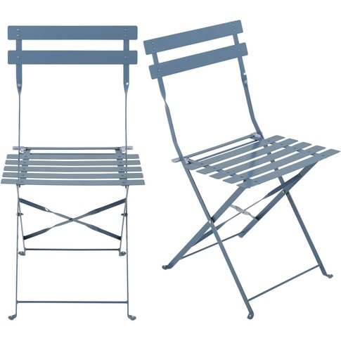 Set of 2 Metal Folding Garden Chairs with Blue-Grey ...