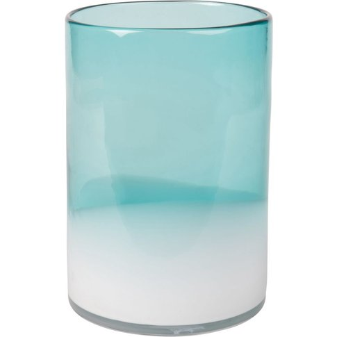 Shaded Blue And White Tinted Glass Vase H20