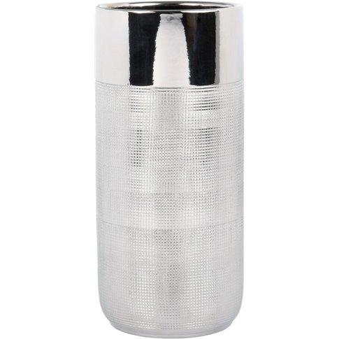 Silver Cylindrical Ceramic Vase H25