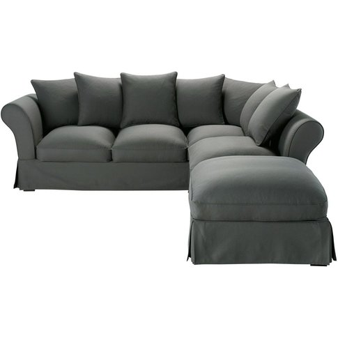 Slate Grey 6 Seater Cotton Corner Sofa Bed Roma