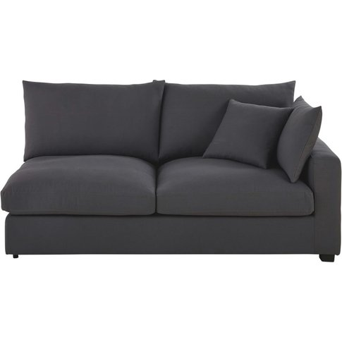 Slate Grey Cotton Sofa Bed with Right Armrest Rhodes