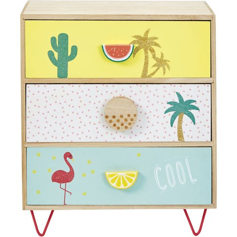 Small 3-Drawer Storage Unit With Tropical Print
