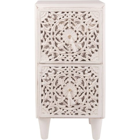 Small Carved 2-Drawer Storage Unit