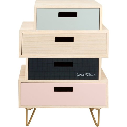 Small Pink and Black 4-Drawer Storage Unit with Print