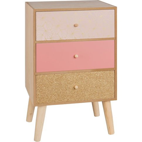 Small Pink and Gold Storage Unit with 3 Drawers