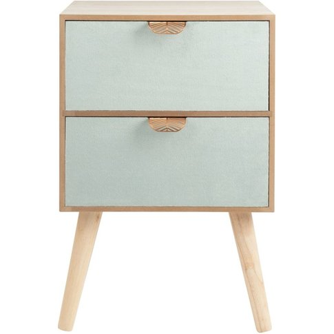 Small Velour And Metal 2-Drawer Storage Unit