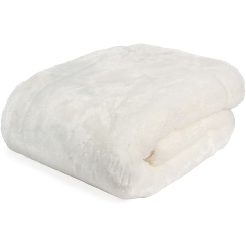 Snowdown Faux Fur Blanket In White 150 X 180cm