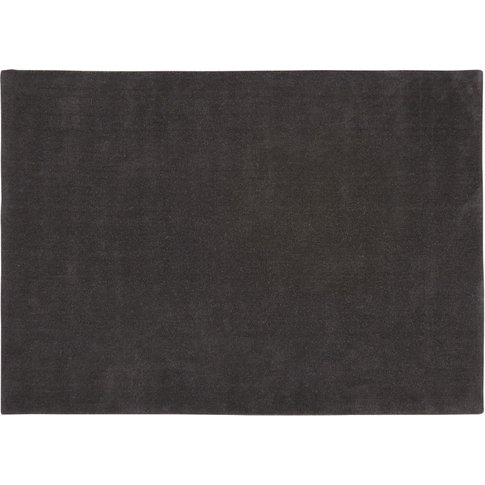 SOFT woollen low pile rug in charcoal grey 140 x 200cm