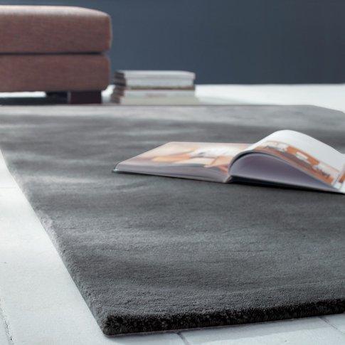 Soft Woollen Low Pile Rug In Charcoal Grey 250 X 350cm