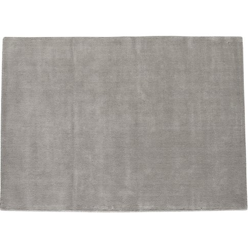 Soft Woollen Low Pile Rug In Grey 200 X 200cm