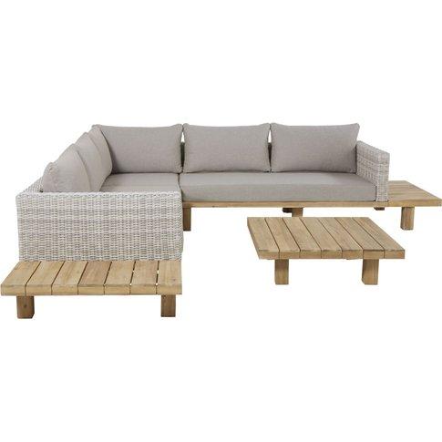 Solid Acacia and Grey Canvas 4-6 Seater Garden Sofa ...