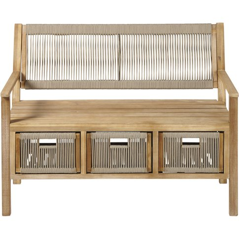 Solid Acacia and Taupe Cord Outdoor Storage Bench Aruba